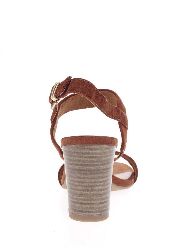 Hnědé páskové semišové sandálky na podpatku Tamaris
