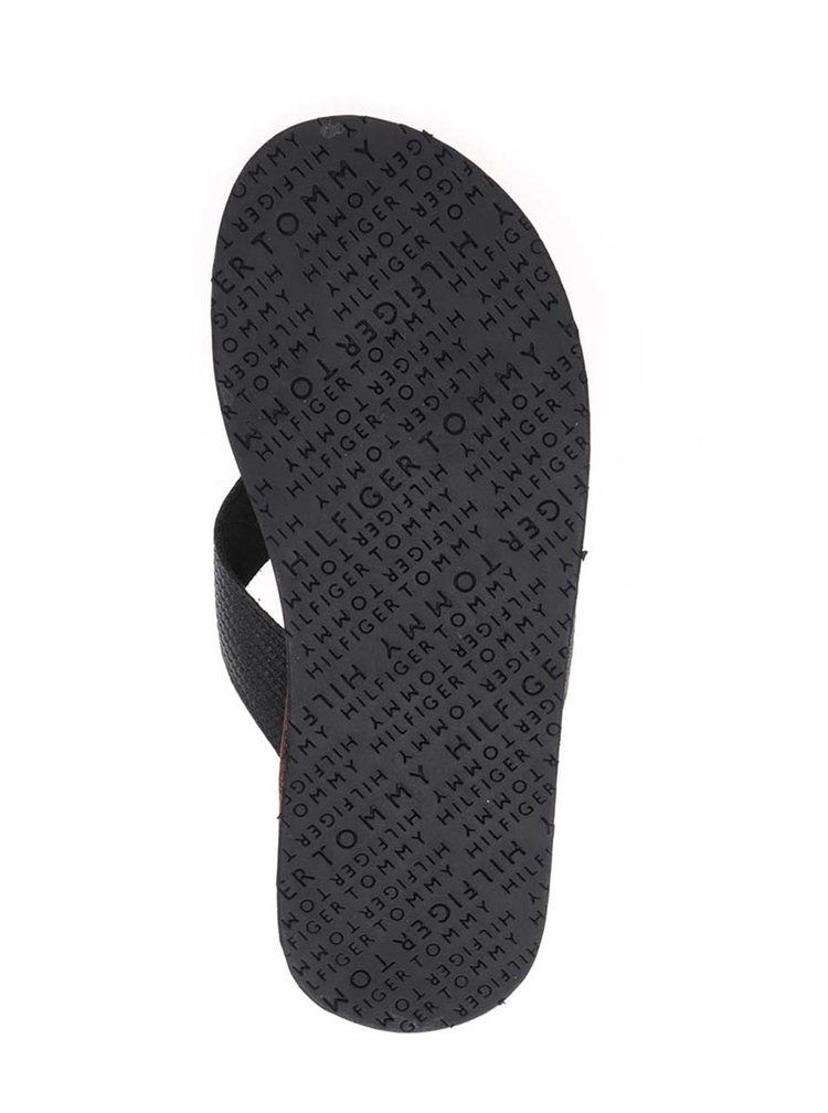 Černé pánské kožené žabky Tommy Hilfiger