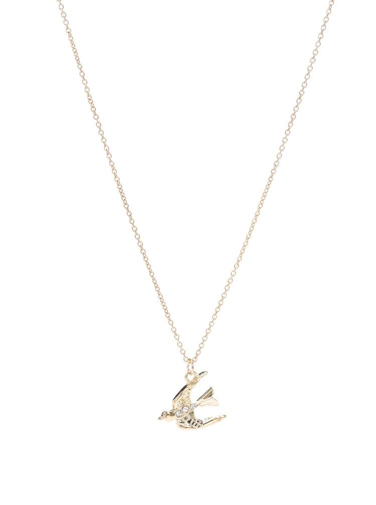 Řetízek ve zlaté barvě s přívěskem ptáka Pieces Joana