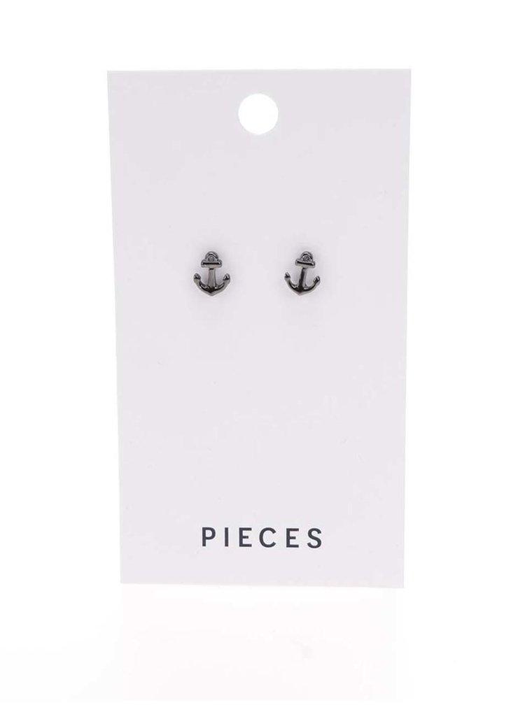 Sivé náušnice v tvare kotvičiek Pieces Miriam