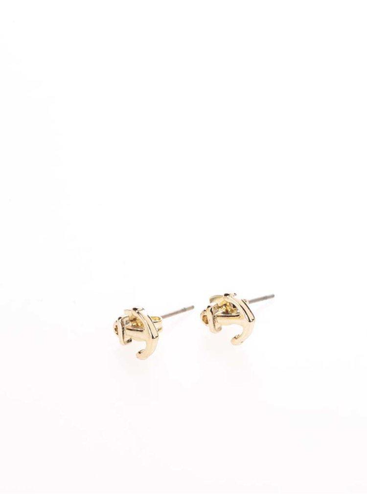 Náušnice ve tvaru kotviček ve zlaté barvě Pieces Miriam