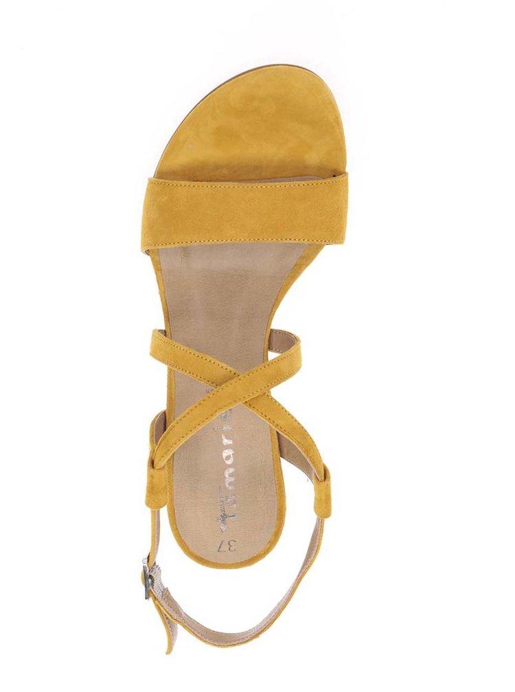 Sandale galbene din piele întoarsă cu toc Tamaris