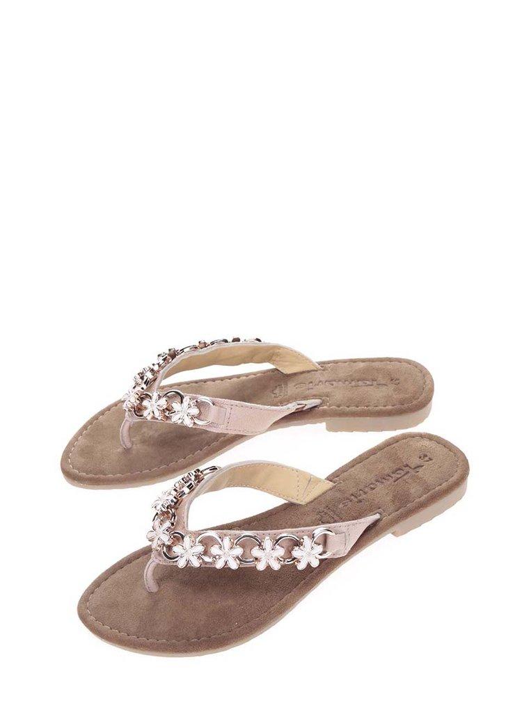 Papuci flip-flop roz prăfuit cu aplicații florale metalice Tamaris