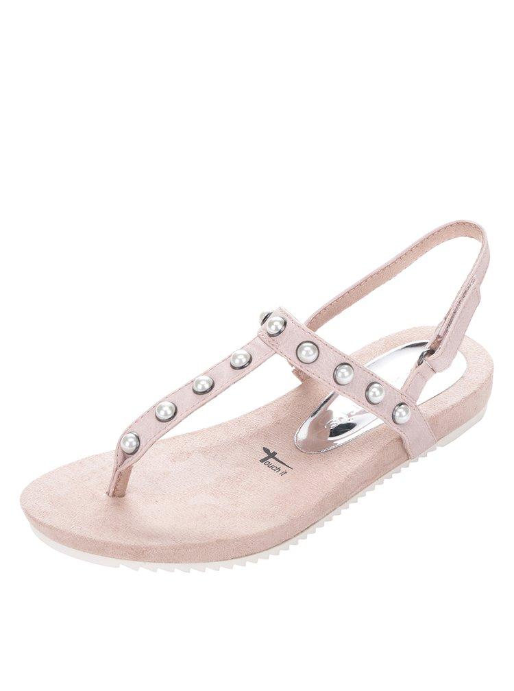 Světle růžové sandály s ozdobnými korálky Tamaris
