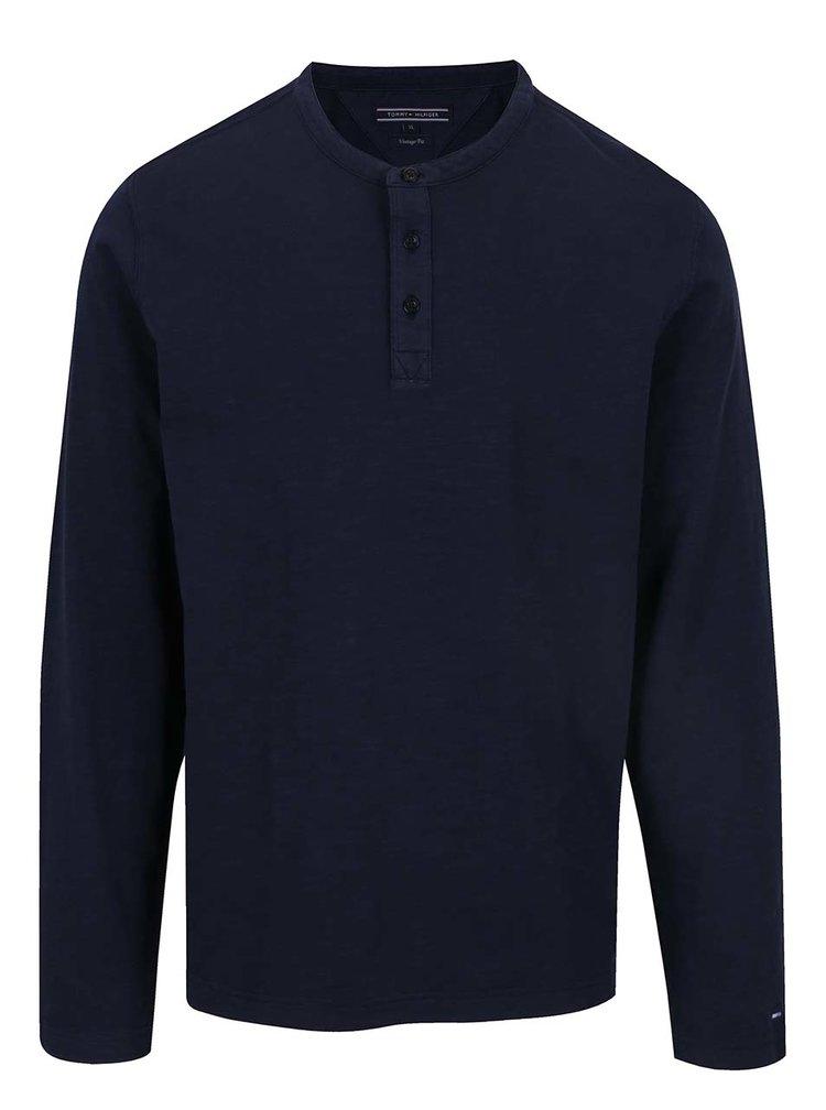Tmavě modré pánské triko s dlouhým rukávem Tommy Hilfiger