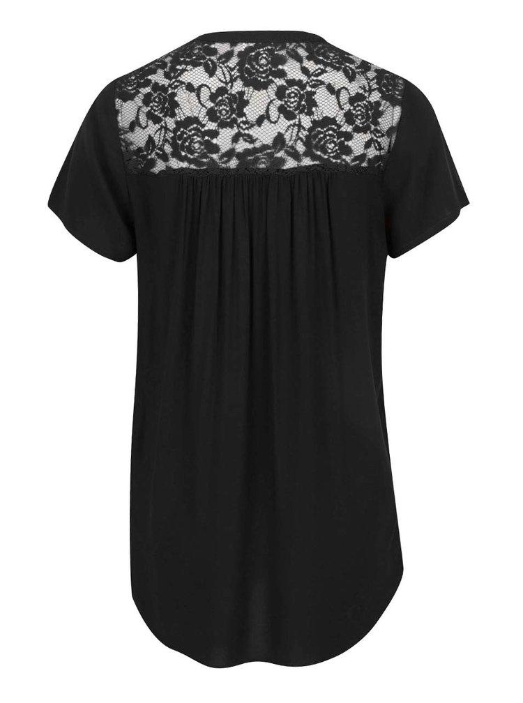 Tricou negru  Jacqueline de Yong Liva cu detalii din dantelă