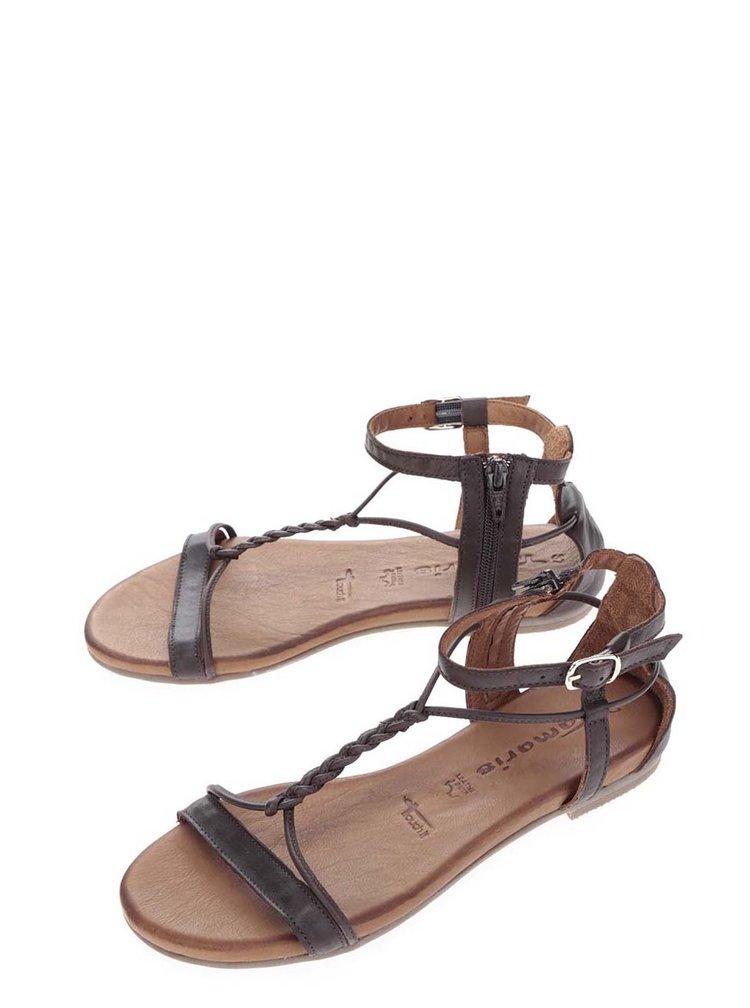 Sandale maro din piele cu calcai acoperit Tamaris
