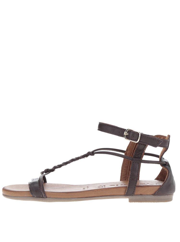 Tmavě hnědé kožené sandály Tamaris