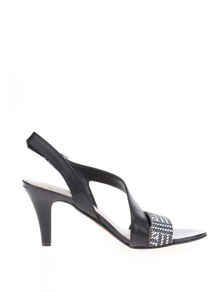 Černé kožené vzorované sandálky na podpatku Tamaris