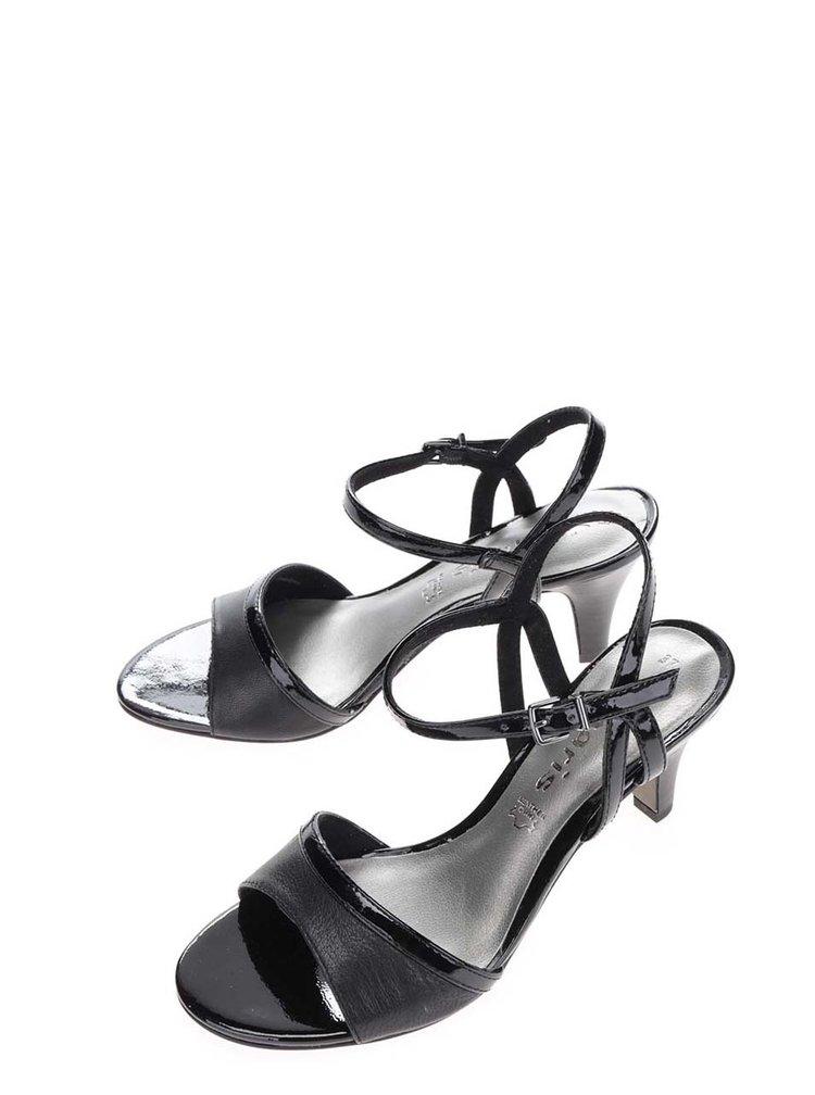 Černé kožené sandálky s lesklými detaily na podpatku Tamaris
