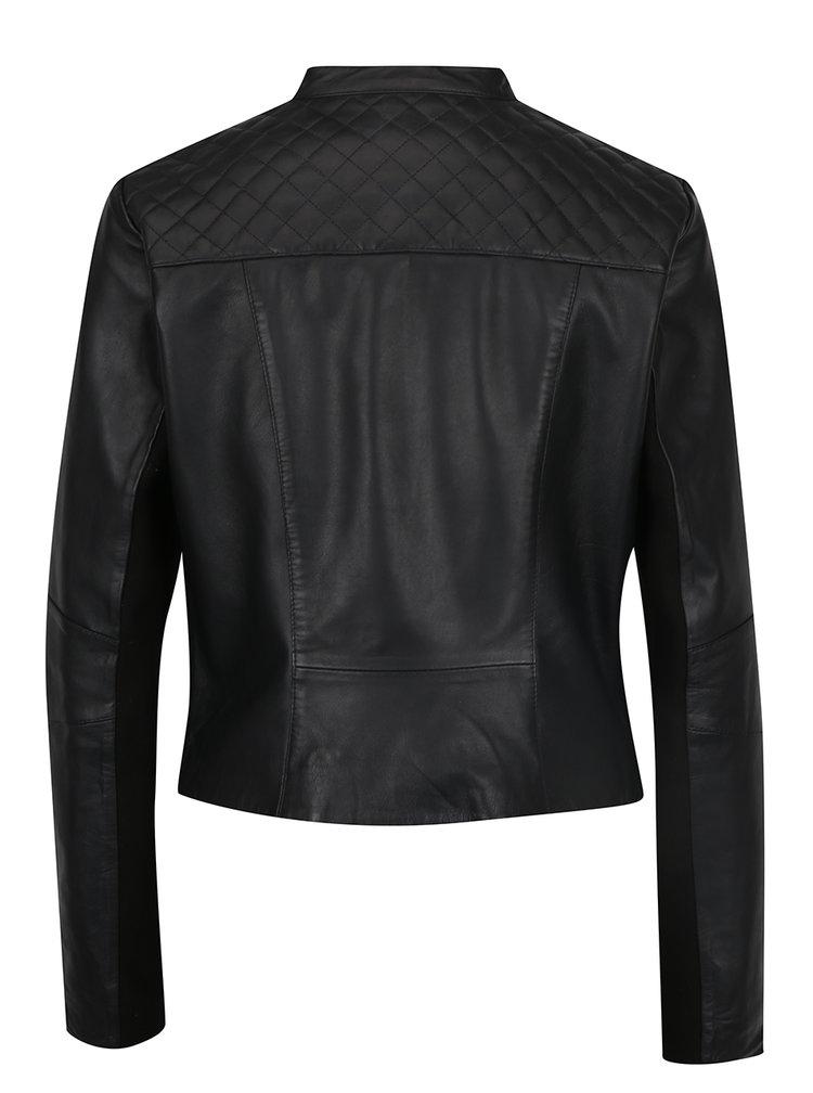 Černá kožená bunda VILA Flora