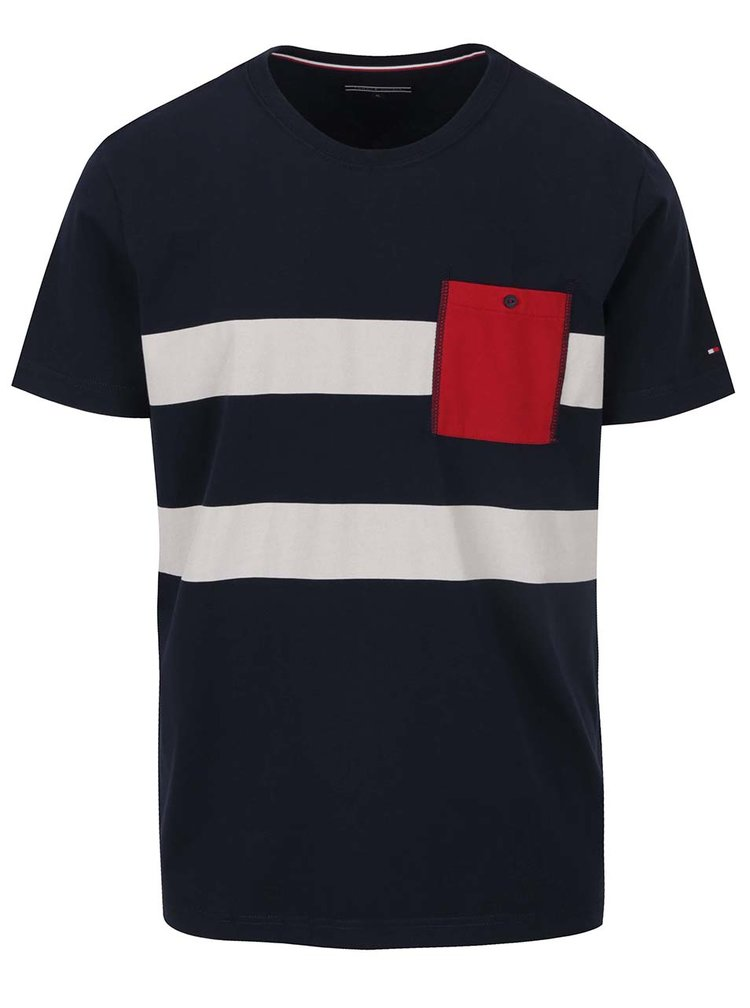 Tmavě modré pánské triko s kapsou Tommy Hilfiger