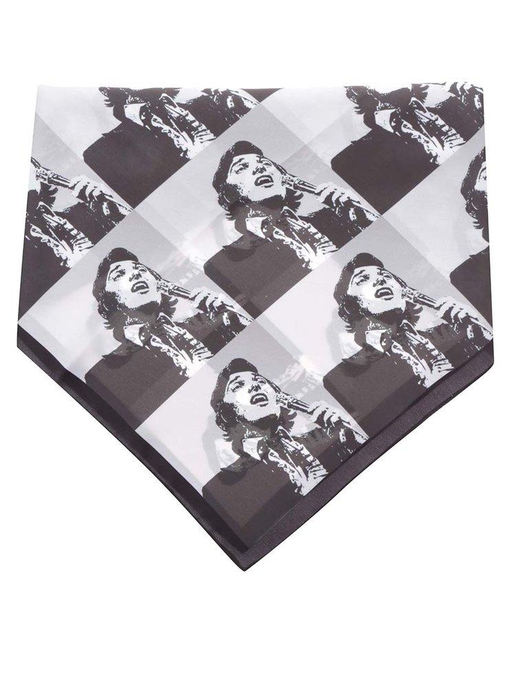 Bílo-černý dámský saténový šátek Gott My Life