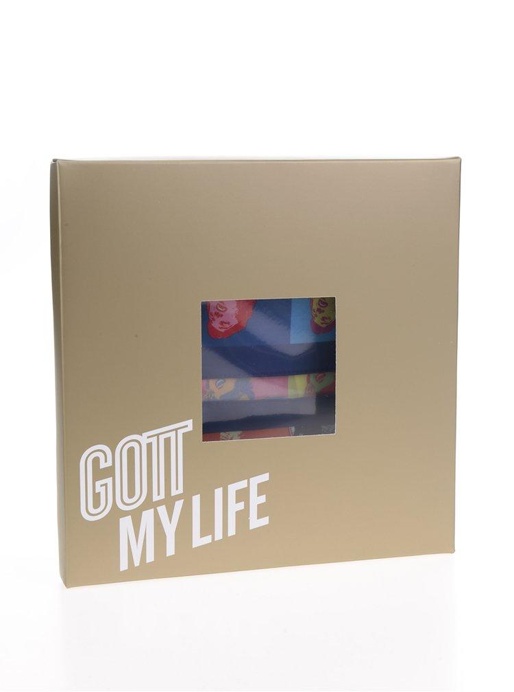 Červeno-modrý pánský saténový kapesníček do saka Gott My Life