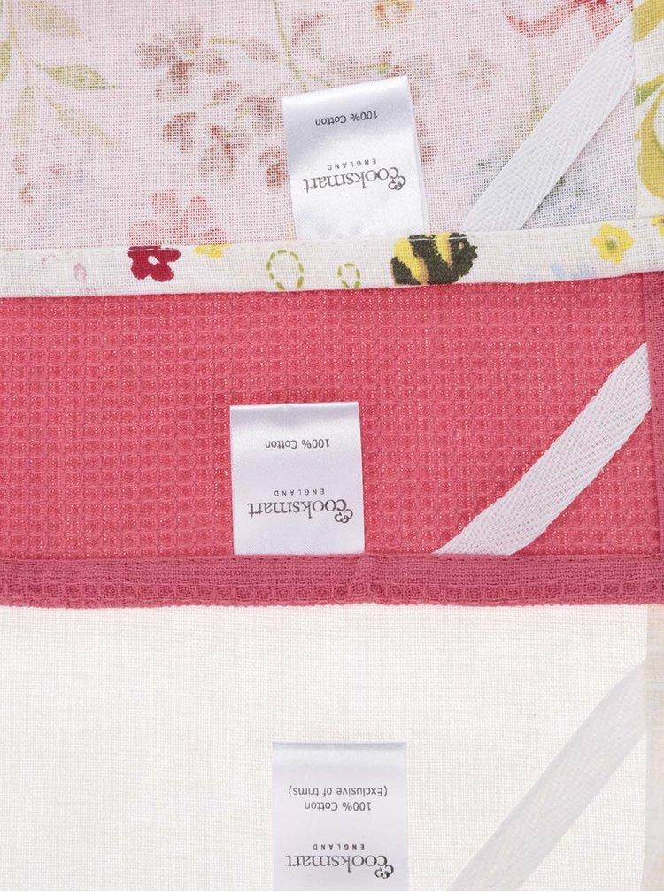 Sada tří květovaných utěrek v růžové a krémové barvě Cooksmart