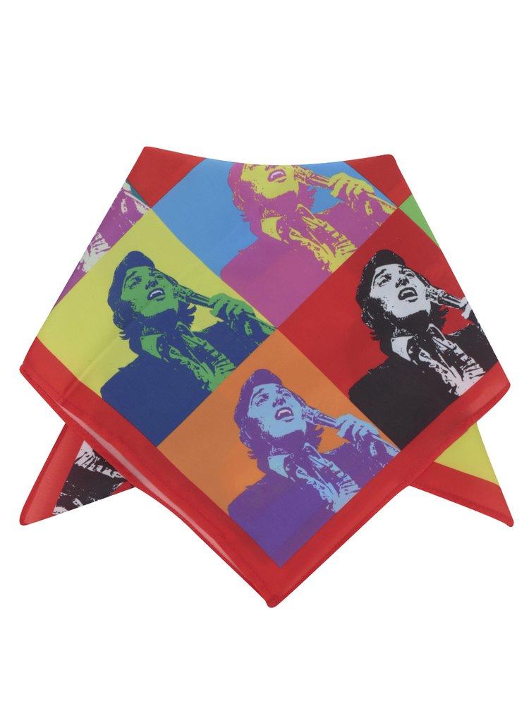 Modro-červený dámský saténový šátek Gott My Life