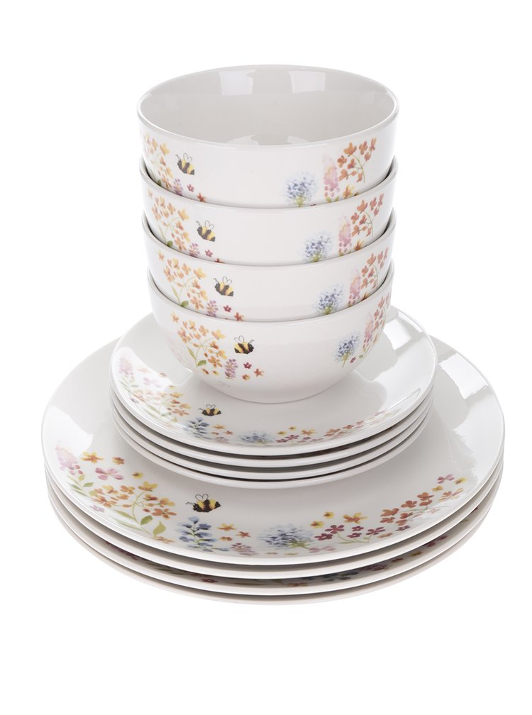 Set dvanácti kusů bílého porcelánového květovaného nádobí Cooksmart