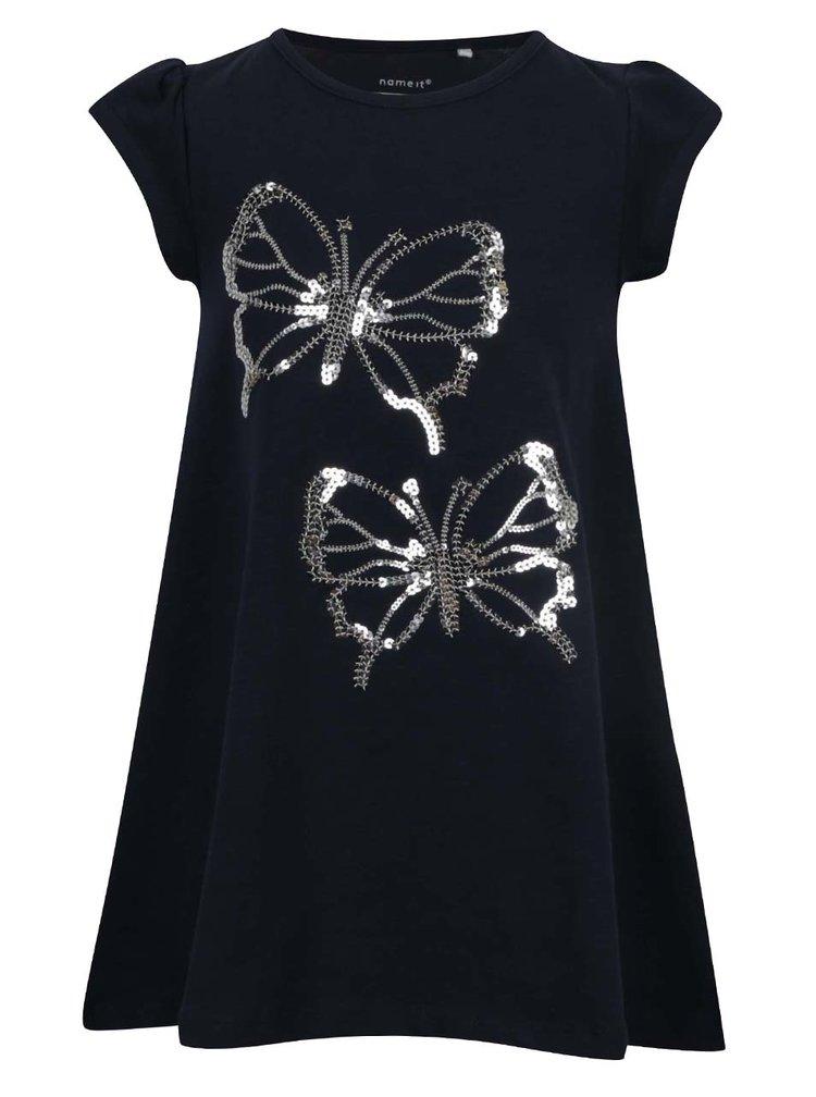 Tmavomodré dievčenské šaty s flitrami name it Giselina