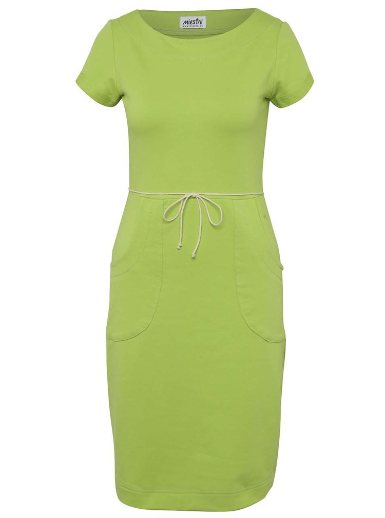 Rochie verde Miestni cu șnur în talie