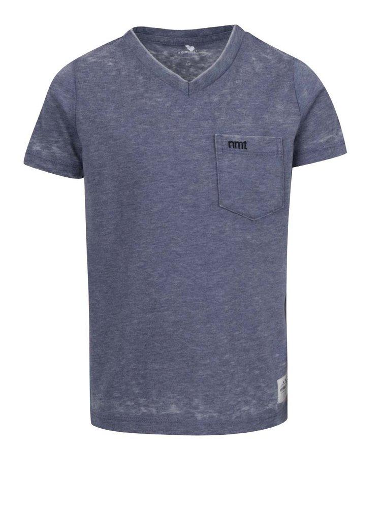 Modré klučičí žíhané triko s kapsou name it Style