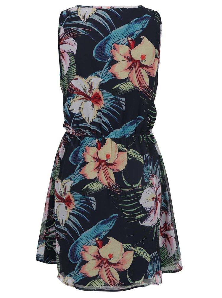 Tmavě modré květované šaty s volánem ONLY Tropical