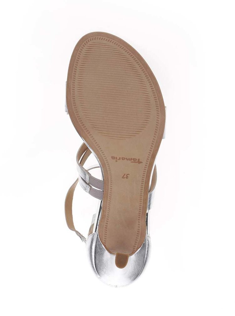 Kožené páskové sandálky ve stříbrné barvě na podpatku Tamaris