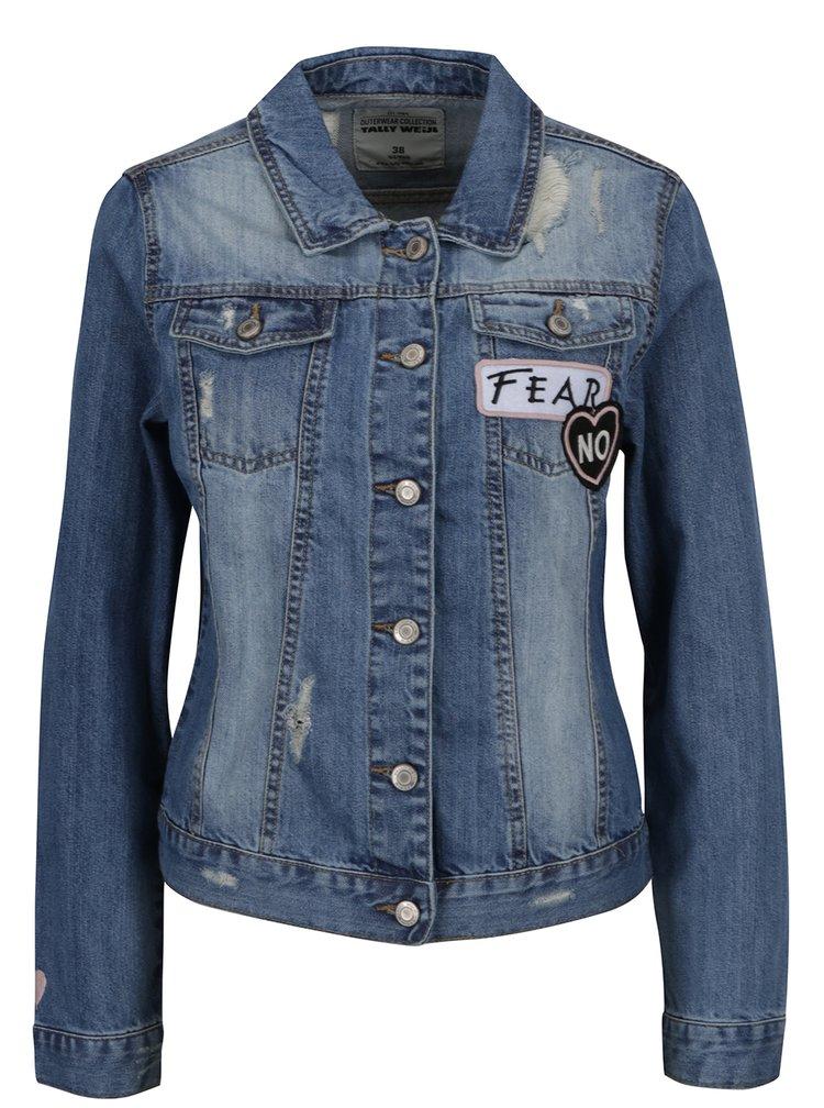 Modrá džínová bunda s nášivkami  na zádechTALLY WEiJL