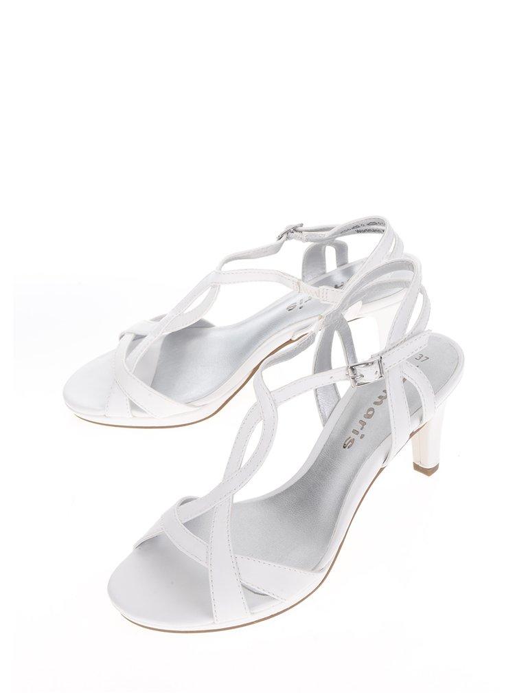 Bílé páskové sandálky na podpatku Tamaris