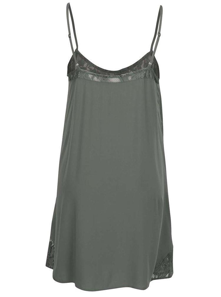Khaki šaty s krajkovými detaily ONLY Piper
