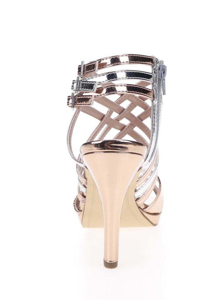 Páskové sandálky na podpatku ve stříbrno-zlaté barvě Tamaris