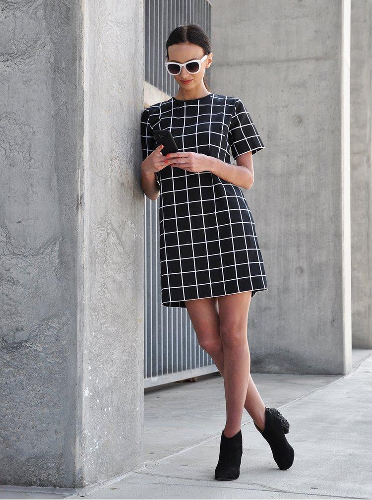 Bílo-černé kostkované volné šaty THAÏS & STRÖE