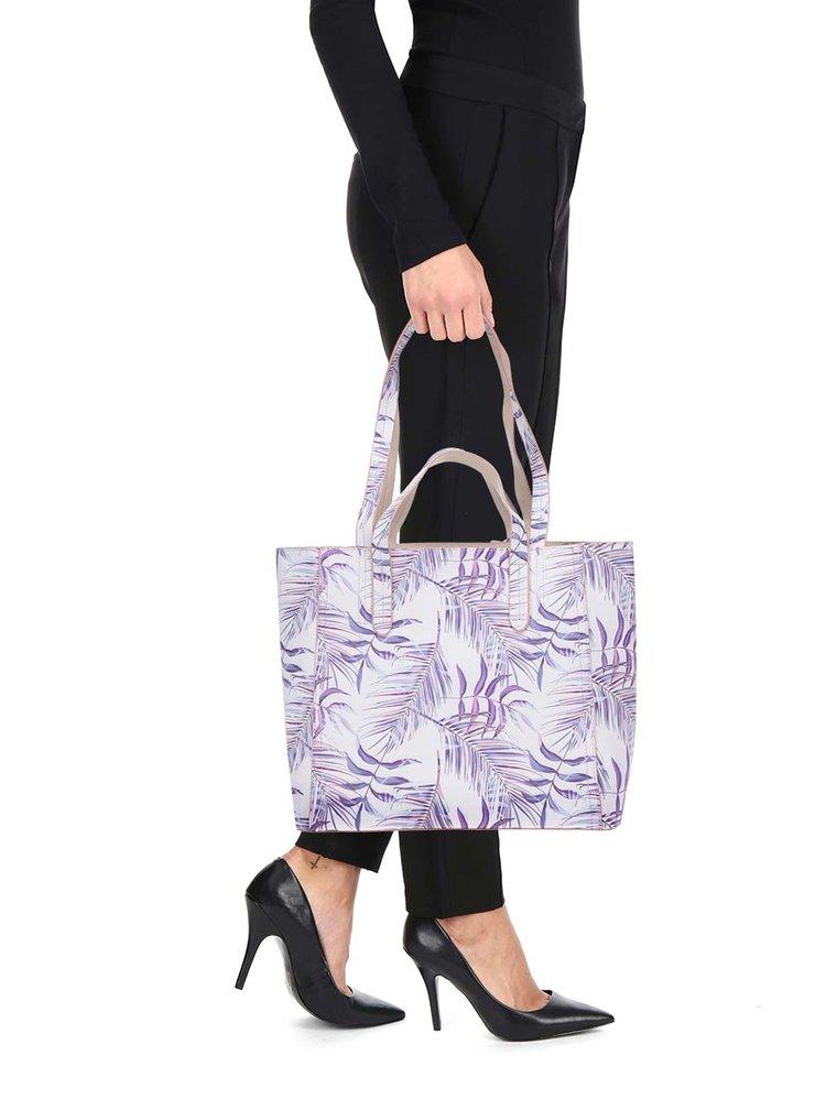 Geanta shopper 2în1 mov&crem cu print floral - LYDC