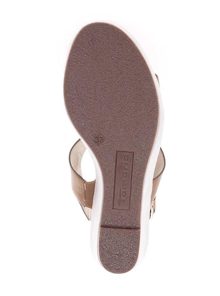 Sandale maro din piele cu platforma Tamaris