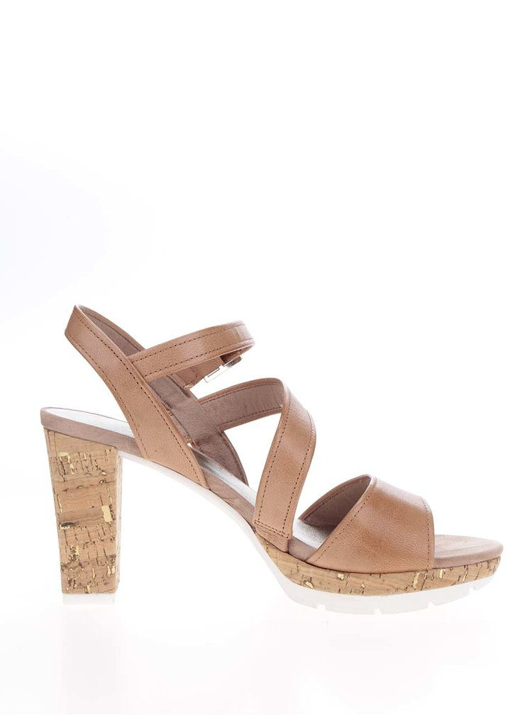 Hnědé kožené sandálky na korkovém podpatku Tamaris