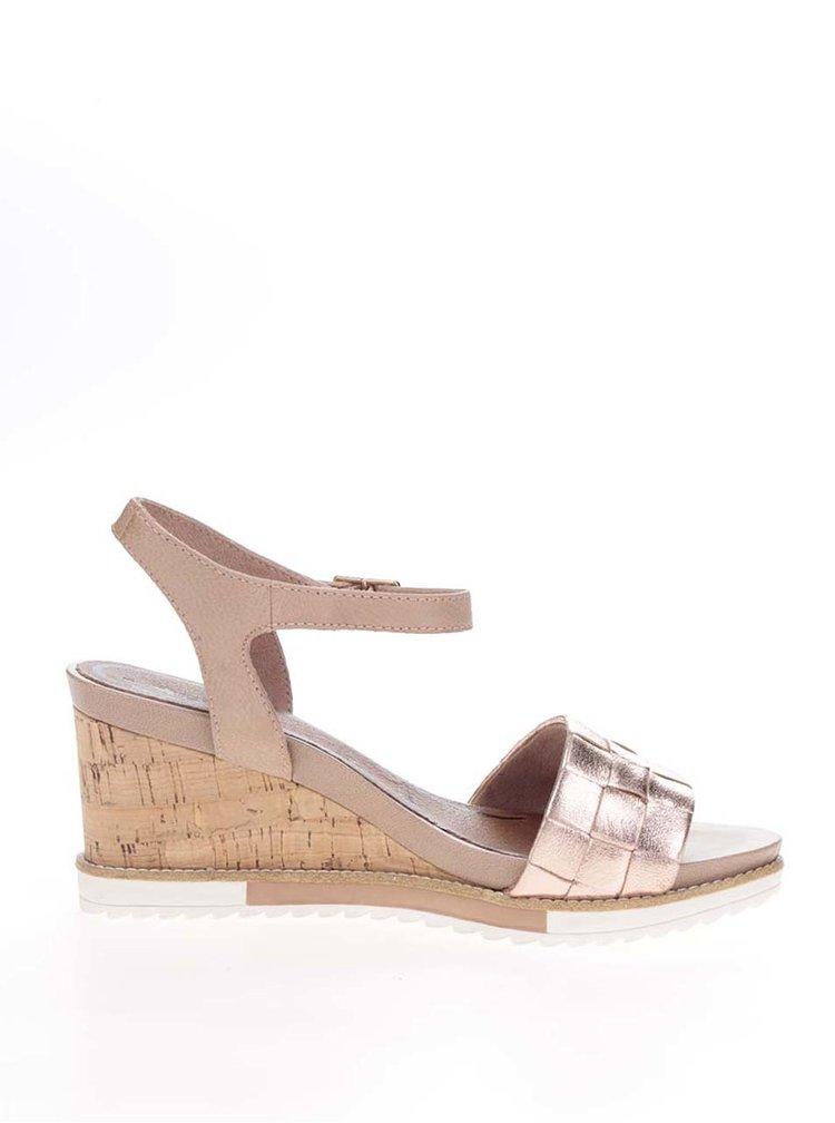 Kožené sandály v růžovozlaté barvě na korkovém klínku Tamaris
