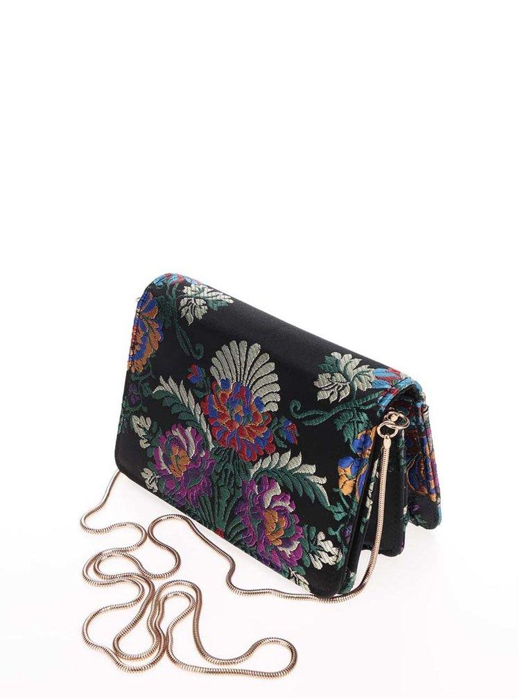 Černá vyšívaná crossbody kabelka/psaníčko Miss Selfridge