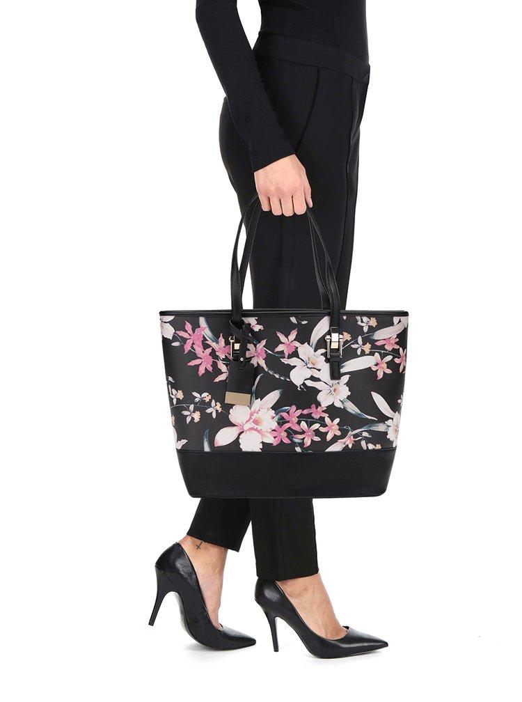 Černý květovaný shopper Miss Selfridge