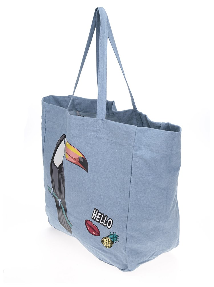 Modrá plátěná taška s potiskem TALLY WEiJL