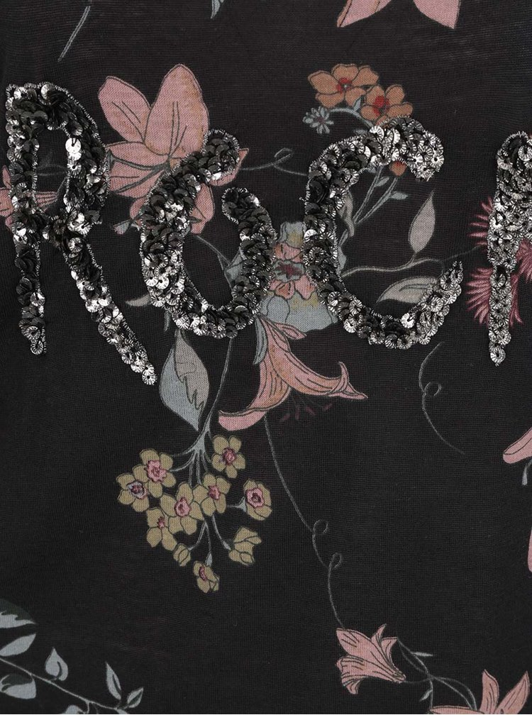 Tricou negru ONLY Iris cu imprimeu floral