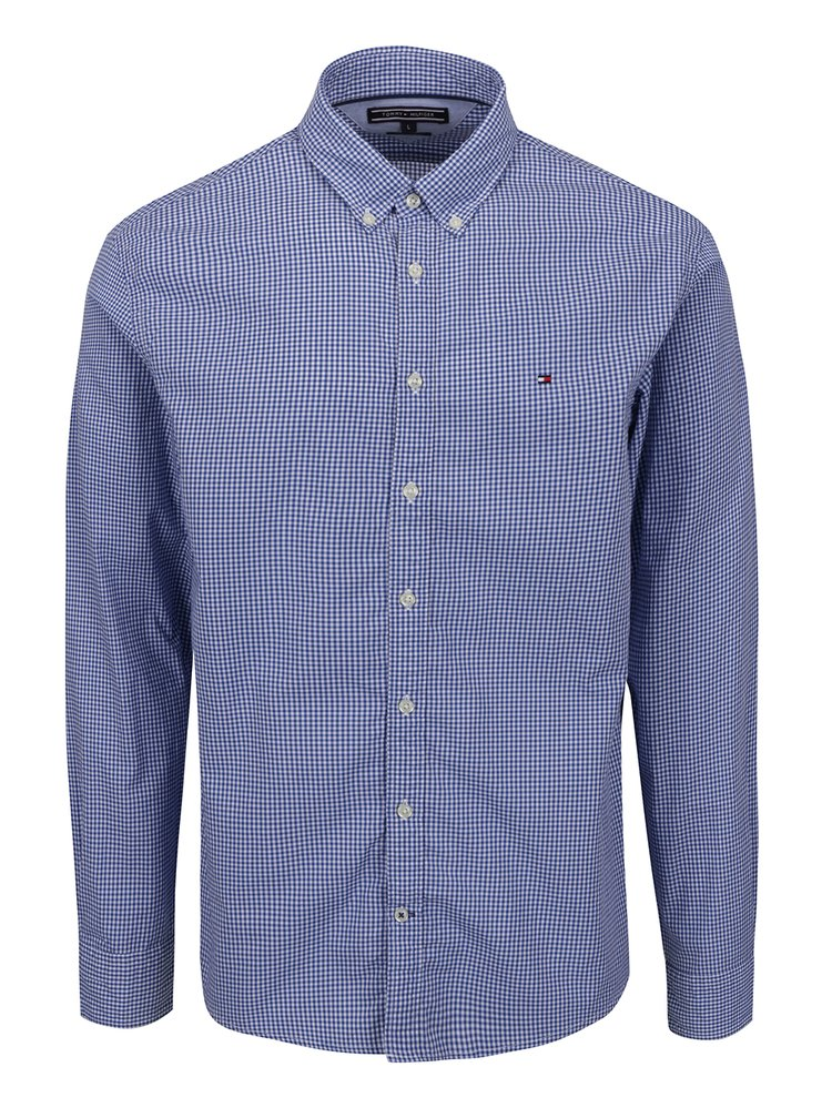 Modro-bílá pánská kostkovaná košile Tommy Hilfiger