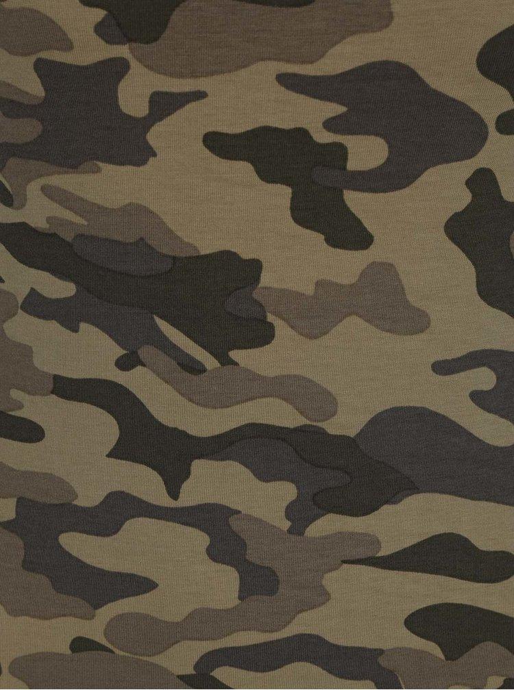 Maiou lung verde ONLY Live cu imprimeu camuflaj