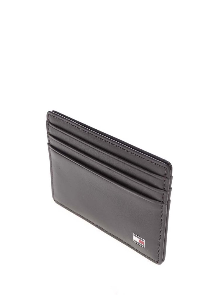 Tmavě hnědé kožené pouzdro na kreditní karty Tommy Hilfiger