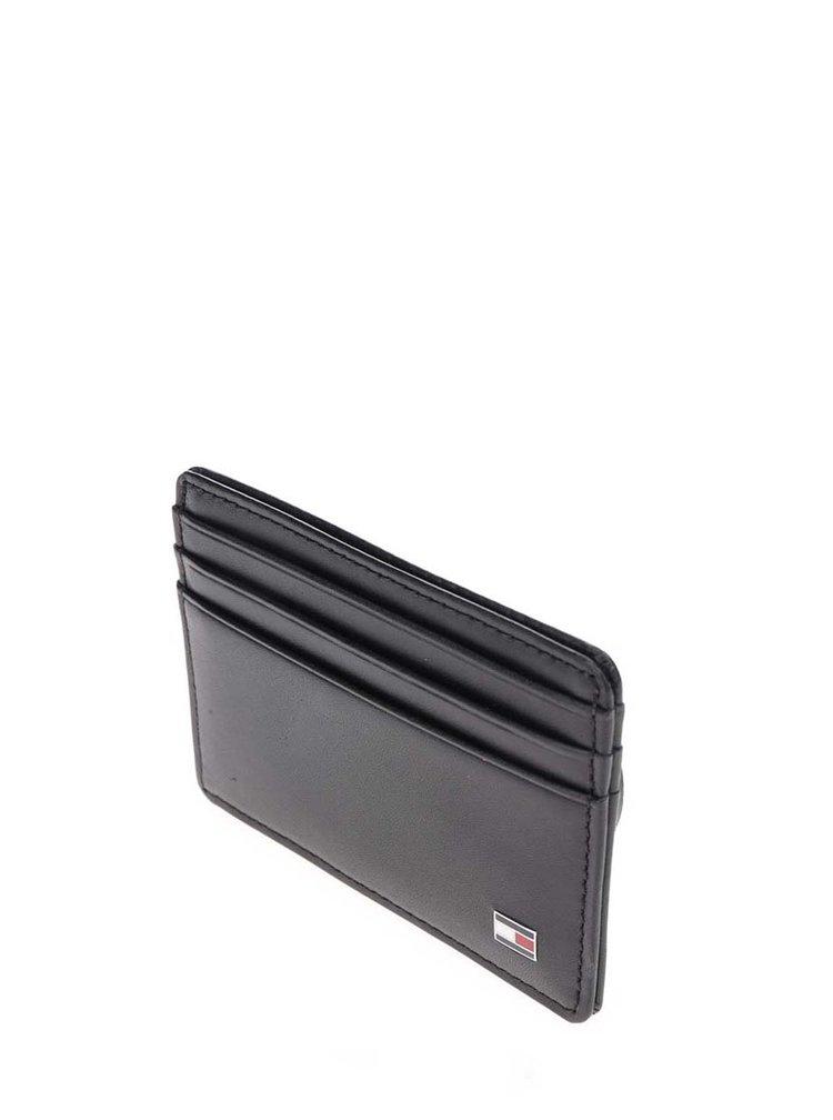 Černé kožené pouzdro na kreditní karty Tommy Hilfiger