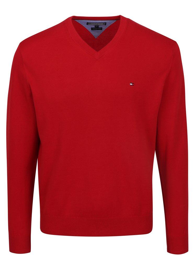 Červený pánský svetr s véčkovým výstřihem Tommy Hilfiger