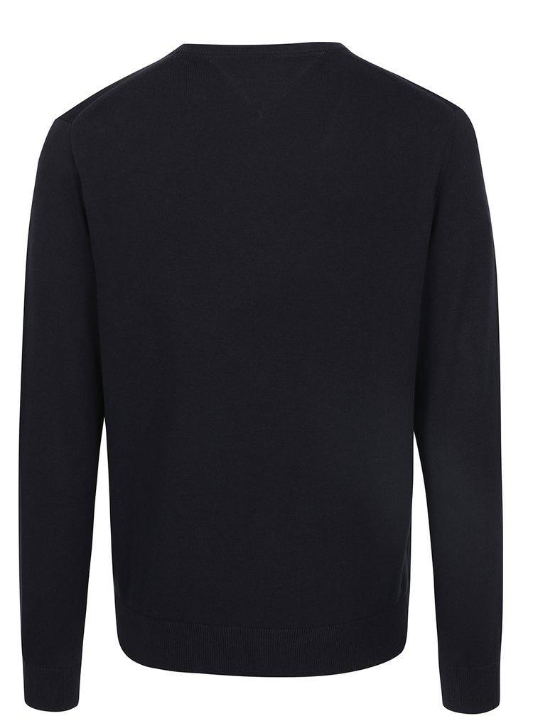Tmavě modrý pánský svetr s véčkovým výstřihem Tommy Hilfiger