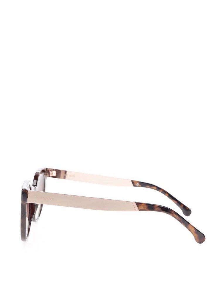 Hnědo-černé dámské kulaté sluneční brýle Komono Lulu