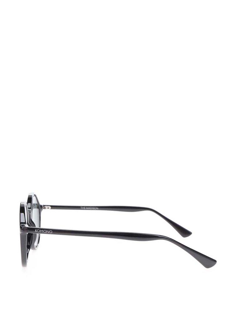 Černé unisex kulaté sluneční brýle Komono Madison