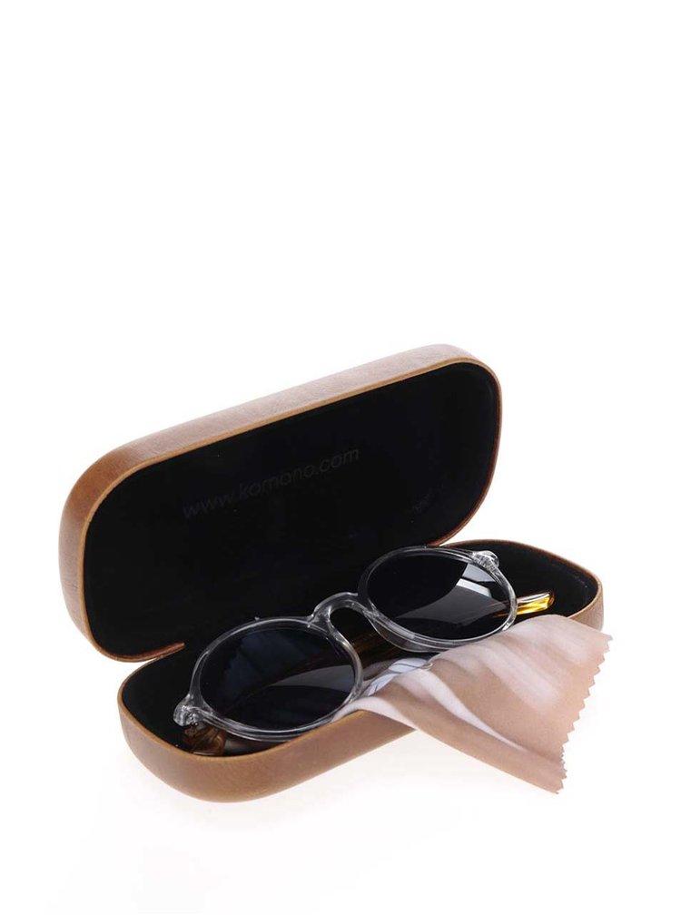 Bílo-žluté unisex kulaté sluneční brýle Komono Madison