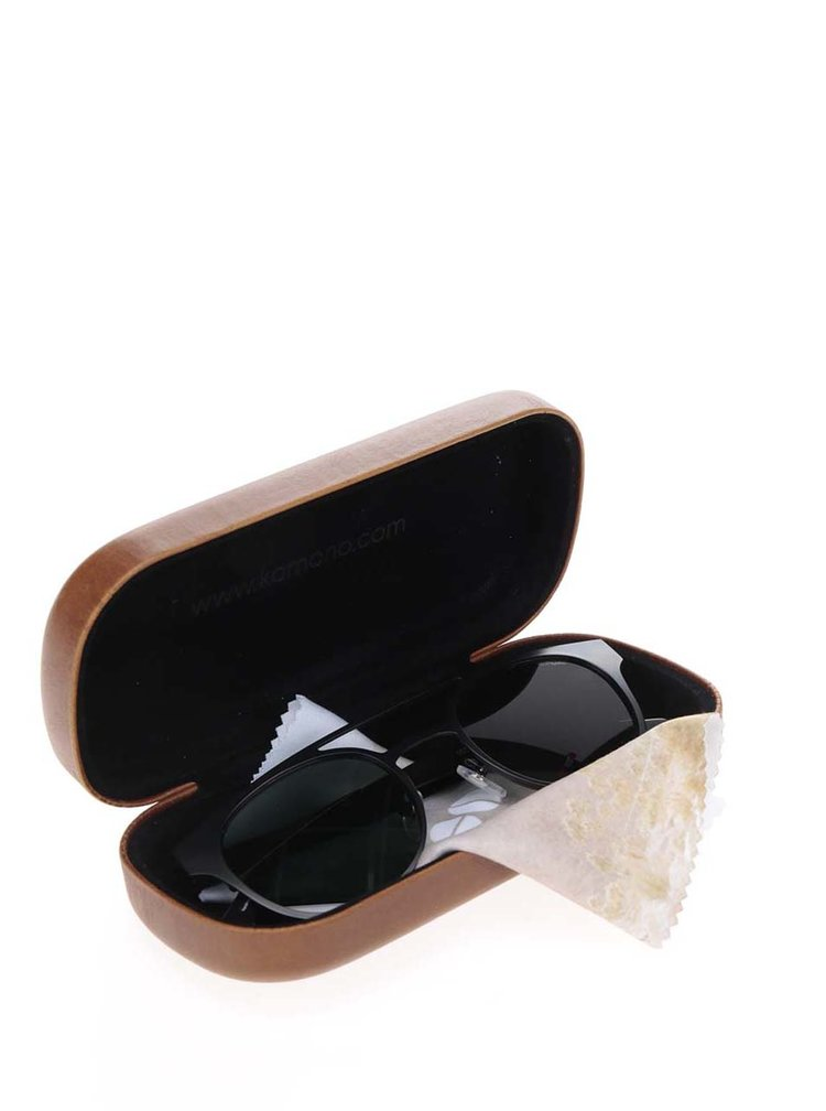Ochelari de soare unisex cu rama neagra Komono Finley