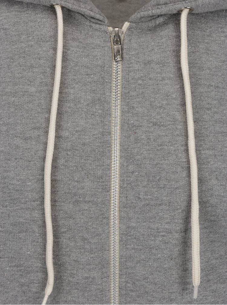 Svetlosivá mikina na zips s kapucňou Blend